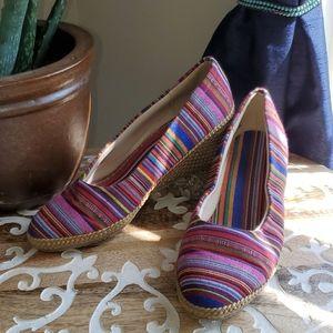 Beacon Rainbow Stipe Low Wedge Slip On Shoe